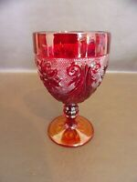 Vintage Red Water Goblet With Amber Base (#9A049)