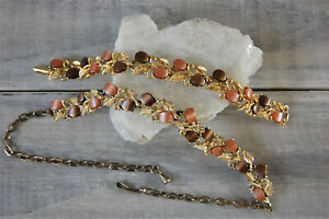 Choker and Bracelet Set, Vintage, Dyed Mother of Pearl, Earth Tones, Fall Colors