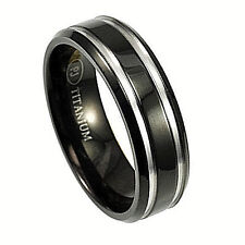 TITANIUM Beveled RING BAND with 0.8mm GROOVES, sizes 8, 9, 10, 11, 12, 13