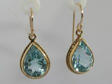 E120 Genuine 9ct Yellow Gold Large NATURAL Topaz Tear Drop Earrings Pear-cut