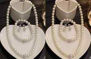 WHITE OR CREAM GLASS PEARL DIAMANTE CRYSTAL BALL NECKLACE, EARRING, BRACELET SET