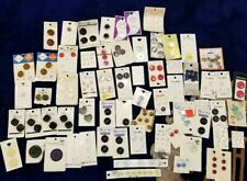 Lot Of Vintage Buttons On Cards Over 60 Red, Blues White Brown