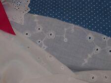 Pretty White Embroidered Trailing Vine Cotton Lawn Fabric -144cm x per 1/2-metre