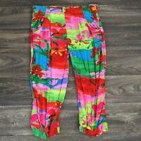 Jams World Dreams Print Womens XS Capri Pants Vtg Floral Brush Stroke Rayon