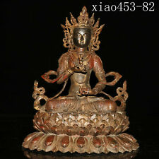 Old collection ancient Chinese Old copper Fetal gold Cinnabar Buddha statue