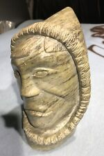 INUIT SOAPSTONE CARVING OF TRIBAL LEADER BY MARKOSIE1976?? GREENISH STONE