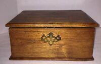 ANTIQUE DOCUMENT BOX OLD Chestnut Oak 19th Century