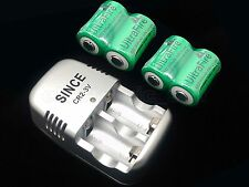 4PC ULTRAFIRE CR2 Li-ion RECHARGEABLE BATTERIES + 1PC BATTERY CHARGER 15270