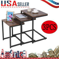 3PCS C Side Under Sofa End Table Couch Snack Table Tray Coffee Table Furniture
