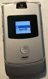 @READ@ Motorola RAZR V3 Silver Consumer Cellular T-Mobile Phone MINT Vintage