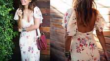 ZARA STUDIO SIZE M OPEN BACK FLORAL PRINTED MAXI DRESS RÜCKENFREIES KLEID BLUMEN