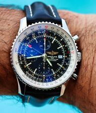 Breitling Navitimer World GMT 46mm Automatic on Black Leather Band Complete Set