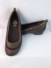 MERRELL PLAZA BALLET Women 9 Brown Leather Wedge Shoes Ortholite Insoles