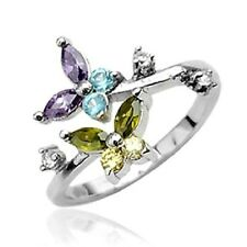 STERLING SILVER Toering Adjustable Toe Rings Body Jewelry *COLORFUL CZ BUTTERFLY