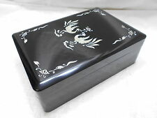 Vintage Japanese Lacquerware Decorative Storage Document Box Near New #4