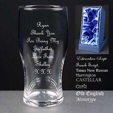 Personalised Tulip Pint Glass Wedding Favour Usher Gift