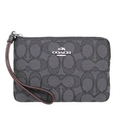 NWT Coach F58033 Outline Signature Corner Zip Wristlet Black Smoke $65