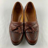 Allen Edmonds USA Cody Men 12 B Brown Woven Leather Kiltie Tassel Loafer Shoes