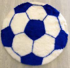 Fluffy Blue & White Football Shape Faux Fur Kids Washable Rug / Mat 70cm diam