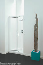CORAM OPTIMA BI-FOLD SHOWER DOOR 800MM PLAIN / WHITE BI FOLD CLEAR GLASS