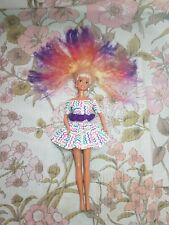 90s Rainbow Sindy Doll With Rainbow Crimped Hair and 90s Outfit