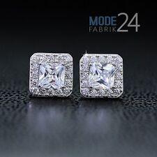 Damen echt 925 Sterling Silber Ohr ringe Stecker Zirkonia 1,12ct Prinzess carre