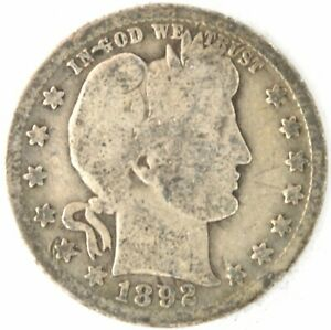 1892 O Barber Quarter Dollar US 90% Silver Coin New Orleans Mint United States
