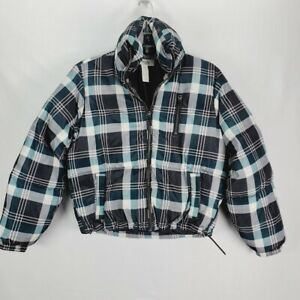 Charlotte Russe Cropped Plaid Puffer Jacket XS