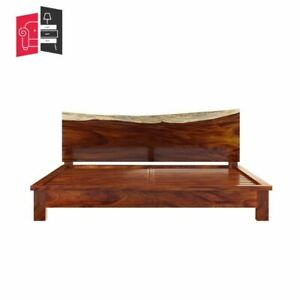 Industrial Live Edge Solid Wood Queen Size Bed 155x205x40 (MADE TO ORDER)