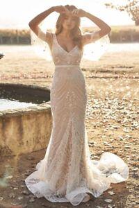 Wedding V Neck Botanical Lace Gown Formal Elegant Dress S 4-6