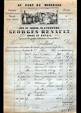 """VENDOME (41) EPICERIE ABSINTHE RHUM DROGUERIE """"Georges RENAULT"""" en 1885"""