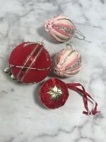 Set of 4 Christmas Ornaments Holiday Tree Bead Bell Sequin Velour Fabric Decor