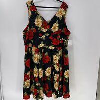 Modcloth IXIA Floral Print Fit & Flare Dress plus sz 4X NWT