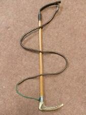 Antique Ladies Leather Hunt Whip With Hallmarked Silver Collar 1894 London