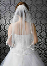 Simple 1T ivory Wedding Bridal Elbow Satin Edge Veil With Comb New