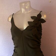 DKNY Brown Sleeveless Ruched Flower Detail Dress 6 GORGEOUS PIN-UP GIRL