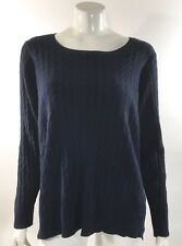 JCP Womens Cable Knit Sweater Plus Size 3X Navy Blue Long Sleeve Pullover Crew
