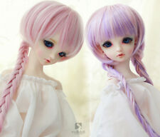 """9-10"""" Sweet Soft Pink/Purple Double Braid Long Wig For 1/3 BJD SD LUTS SD PULLIP"""