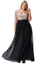 Goddiva Short Sleeves Chiffon Sequin Prom Maxi Plus Size Eve Party Dress(16-26)