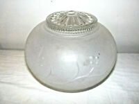 Vintage Ceiling Lamp Shade Globe Frosted Glass Raised Blossom on Vine