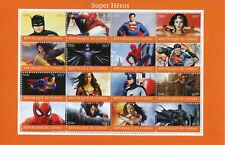 Congo 2017 CTO Superheroes Spiderman Superman Batman Wonderwoman 16v M/S Stamps