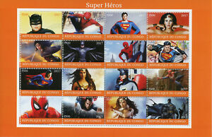 Superheroes Stamps 2017 CTO Spiderman Superman Batman Wonderwoman 16v M/S