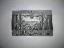 Gravure 19e Noblesse chevalerie Seigneur Jardin Chateau Palais des Tuilleries