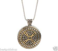 QVC Steel by Design Round Medallion Pendant Venetian Box Chain Necklace J261285