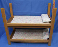 Doll Wood Wooden Bunk Beds Fits American Girl Doll  Mattress & Pillows Included