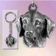DACHSHUND PEWTER Dog Head Keychain Key Chain Ring NEW