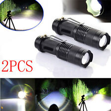 1200LM FOR CREE LED Flashlight Adjustable Focus Zoom Mini Torch Light Lamp 2pcs