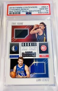 2018-19 CONTENDERS LUKA DONCIC TRAE YOUNG PATCH DUAL RC TICKET PSA 10 GEM MINT