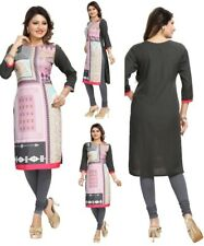 MULTICOLOURED WOMEN FASHION INDIAN KURTA KURTI TUNIC TOP SHIRT DRESS SC2424