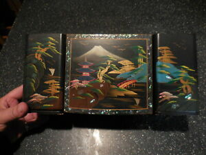 LOVELY VINTAGE JAPANESE MUSIC & JEWELRY w PEARL ,BLACK LACQUER ESTATE JAPAN BOX